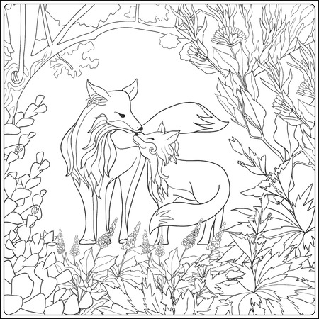 大人およびより古い子供のための塗り絵。素敵な母狐と庭で彼女の小さなキツネの着色のページ。