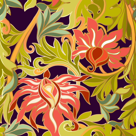 middle ages: Floral seamless pattern in middle ages style. Colored with gold contour.