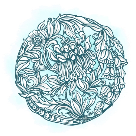 middle age: Decorative floral vintage pattern. Middle age style. Round composition. Vector illustration.