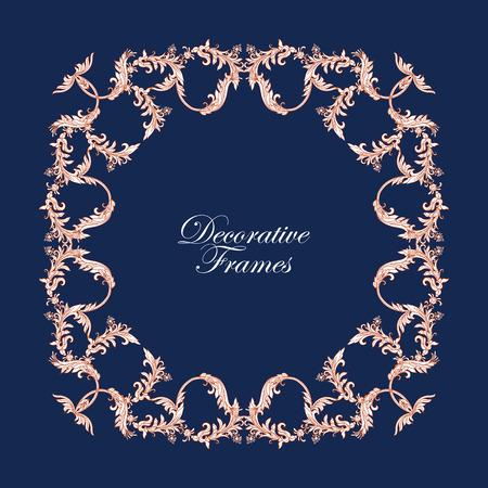 middle age: Decorative vintage floral frame in middle age style. Vector illustration.