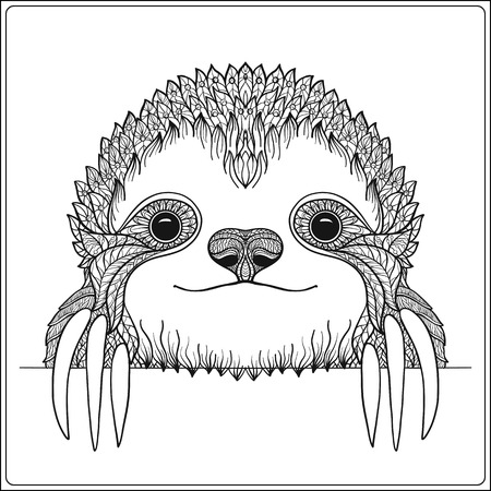Decorative cute sloch. Outline vector illustration. Coloring book for adult and older children. Outline drawing coloring page.