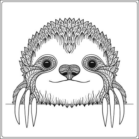 oso perezoso: sloch lindo decorativo. Esquema de ilustración vectorial. Libro de colorante para los adultos y niños mayores. Esbozar dibujo para colorear.