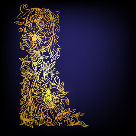 middle age: Decorative floral vintage pattern. Middle age style. Border. Vector illustration.