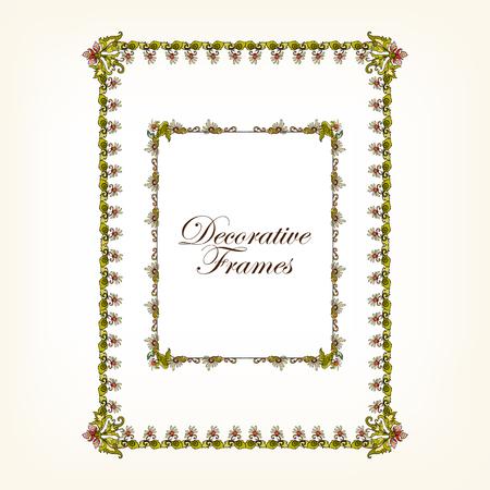 Dekorative wintDecorative Vintage Rahmen im mittleren Alter Stil. Vektor-Illustration. Standard-Bild - 60500492