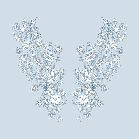 ages: Neck line embroidery designs with middle ages floral pattern. Vector illustration.