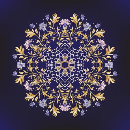 Beautiful gold and lue Deco Vintage flowers Mandala on black background. Patterned Design Element, Ethnic Amulet Vector illustration.