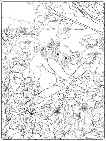 color pages: Coloring book for adult and older children. Coloring page with lovely mother koala and her cub in the garden. Illustration