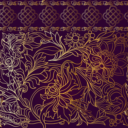 morris: Floral seamless pattern in middle ages style. Gold outline on black background Illustration