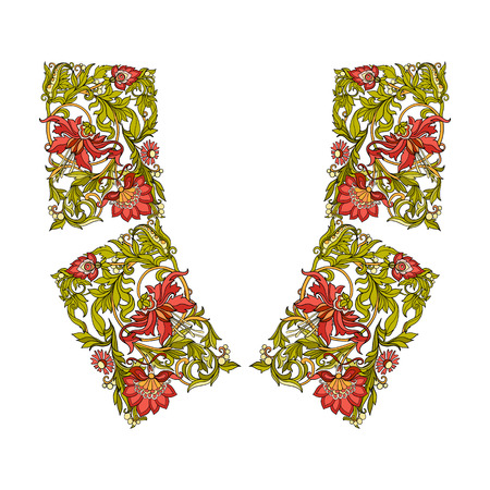 flower age: Neck line embroidery designs vith middle ages floral pattern. Vector illustration.