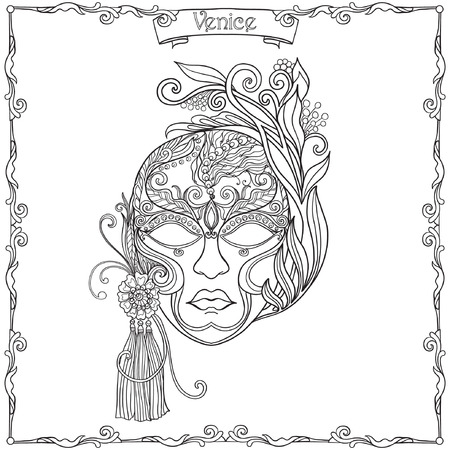 Venetian mask, carnival costume  Outline hand draw.  Coloring book for adult and older children. Coloring page. Vector illustration. Ilustração