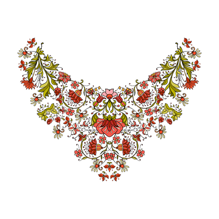 middle age women: Neck line embroidery designs vith middle ages floral pattern. Vector illustration.