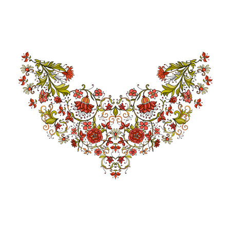 ages: Neck line embroidery designs vith middle ages floral pattern. Vector illustration.