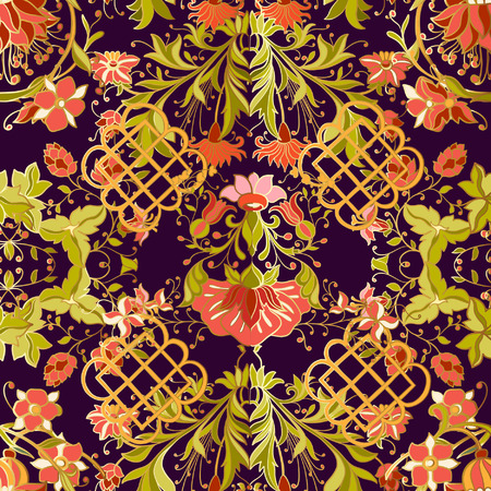 william: Floral seamless pattern in middle ages style. Colored with gold contour.