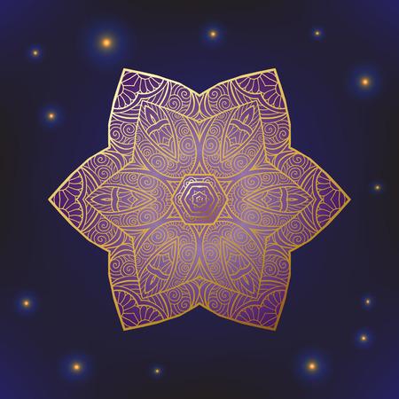 Decoratieve sierlijke Indiase of Arabische-ronde kant mandala. Sneeuwvlok. Vintage vector patroon. Uitnodiging, trouwkaart, scrapbooking. Kerstkaart ontwerpen. Goud over zwart. Gekleurde vector illustratie.