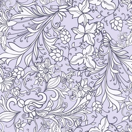 Bloemen naadloos patroon in de middeleeuwen stijl. Stock Illustratie