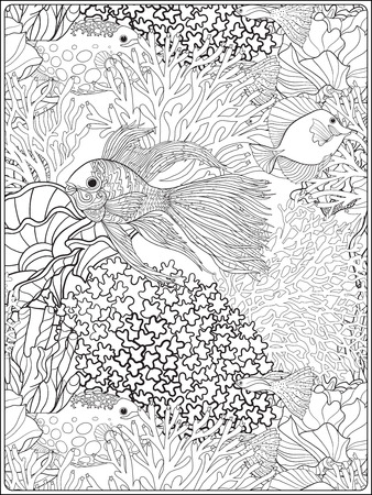 Motif de coraux décoratifs et de la mer ou les poissons d'aquarium. Vector illustration. livre à colorier pour les adultes et les enfants plus âgés. Outline dessin de coloriage page. Banque d'images - 60503052