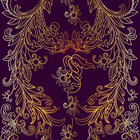 decorative element: Floral seamless pattern in middle ages style. Gold outline on black background Illustration