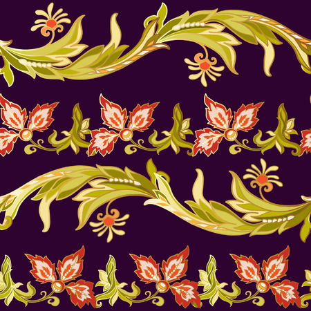 ages: Floral seamless pattern in middle ages style. Colored with gold contour.