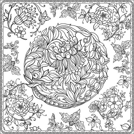Bloemen naadloos patroon in de middeleeuwen stijl. Kleurboek voor volwassenen en oudere kinderen. Kleurplaat. Schets. Vector illustratie.