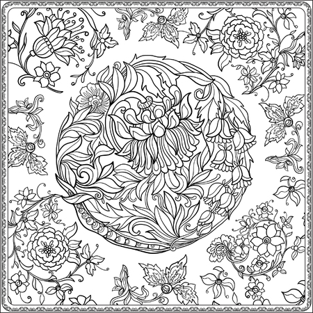Floral seamless pattern in middle ages style. Coloring book for adult and older children. Coloring page. Outline drawing. Vector illustration.