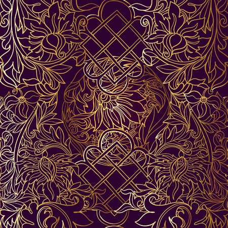 middle ages: Floral seamless pattern in middle ages style. Gold outline on black background Illustration