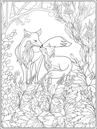 Coloring book for adult and older children. Coloring page with lovely mother fox and her little fox in the garden.