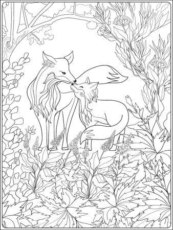 Kleurboek voor volwassenen en oudere kinderen. Kleurplaat met mooie moeder vos en haar kleine vos in de tuin.