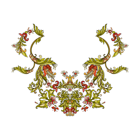 Neck line embroidery designs vith middle ages floral pattern. Vector illustration.