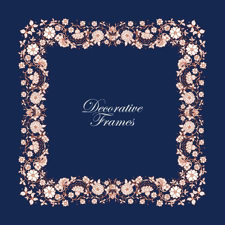 vignette: Decorative vintage floral frame in middle age style. Vector illustration.