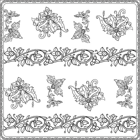 middle ages: Floral seamless pattern in middle ages style. Coloring book for adult and older children. Coloring page. Outline drawing. Vector illustration.
