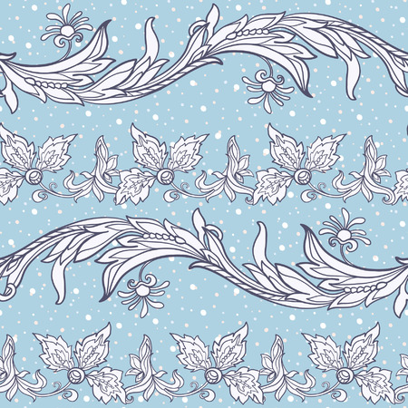 middle: Floral seamless pattern in middle ages style.