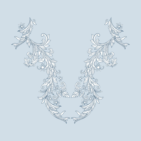 flower age: Neck line embroidery designs with middle ages floral pattern. Vector illustration.