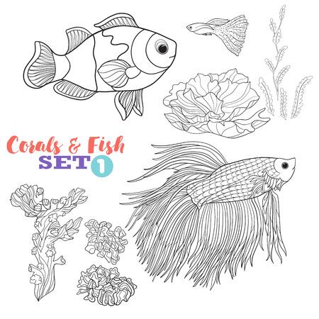 Vector Illustration Coral Reef And Fish Set Good For Coloring Book Adult Older Children