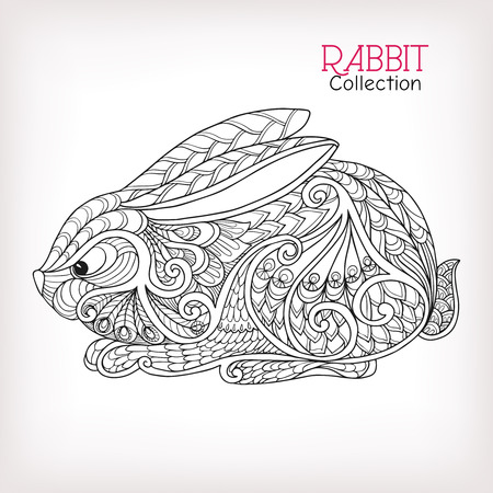 color pages: Decorative Rabbit, Easter Bunny. Hare. Vector illustration. This illustration can be used as a greeting card or as a print on T-shirts and bags. Stock Photo