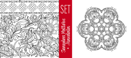 serviette: Set  with vintage floral pattern and Beautiful Deco Mandala.  Outline hand draw. Vector illustration.