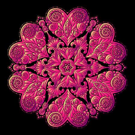Colored Decorative mandala with Love hearts Illustration