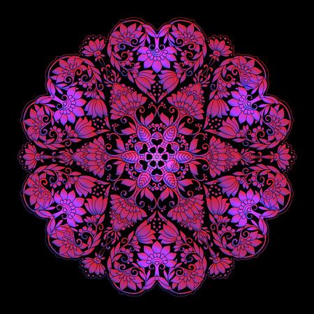 Colored Decorative mandala with Love hearts Stock Photo