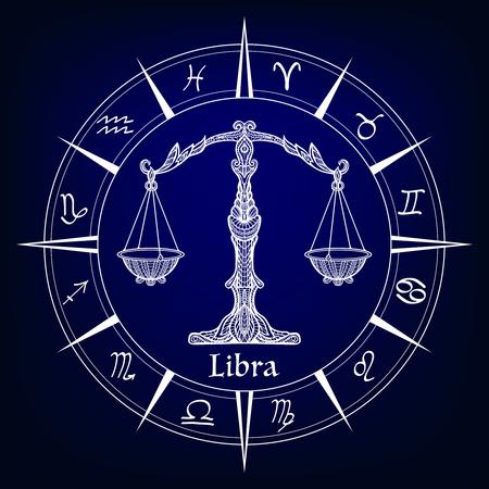 Zodiac sign Libra Векторная Иллюстрация