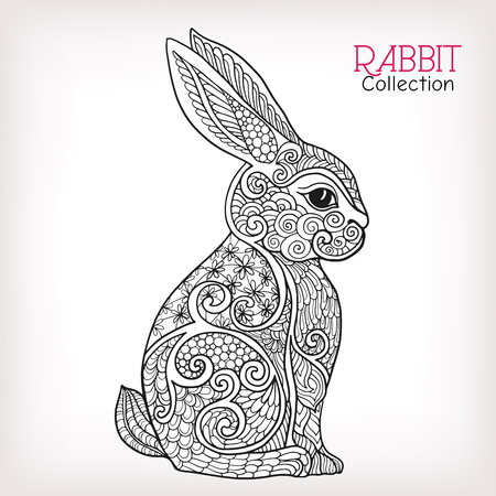 Decorative Rabbit, Easter Bunny. Hare. Vector illustration. This illustration can be used as a greeting card or as a print on T-shirts and bags.