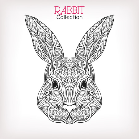 coney: Decorative Rabbit, Easter Bunny. Hare. Vector illustration. This illustration can be used as a greeting card or as a print on T-shirts and bags. Stock Photo