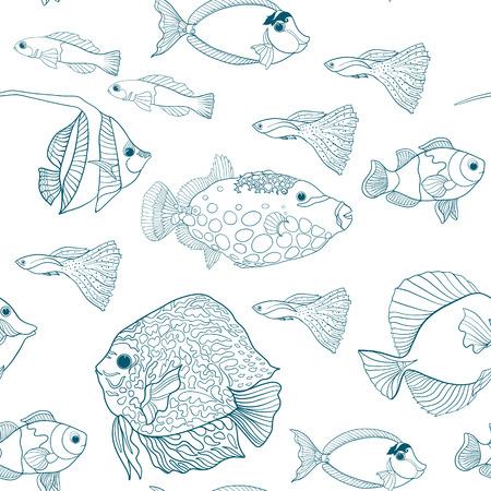 装飾的なサンゴや海や水族館の魚とのシームレスなパターン。ベクトルの図。図面の概要を説明します。