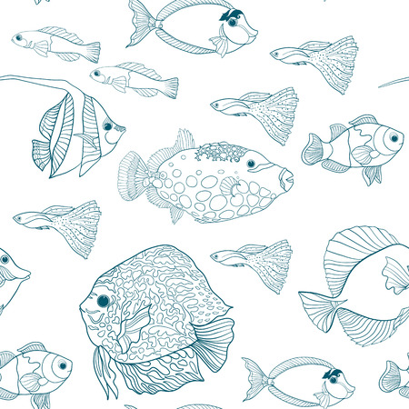 Seamless pattern with decorative corals and sea or aquarium fish. Vector illustration. Outline drawing.