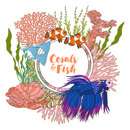 Coral reef with corals and fish. Card, banner with space for text. Colored Vector illustration. Illustration
