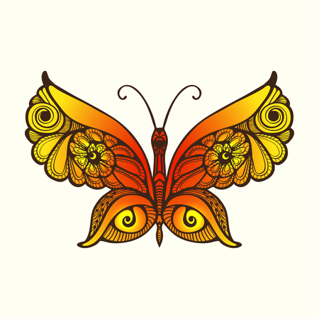 Decorative butterfly in zentangle style, in zendoodle style. This illustration can be used as a greeting card or as a print on T-shirts and bags. Vector illustration. Illustration