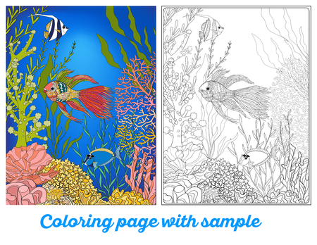 Adult coloring book. Coloring page with underwater world coral reef with colored sample. Corals, fish and seaweeds.  Outline vector illustration.
