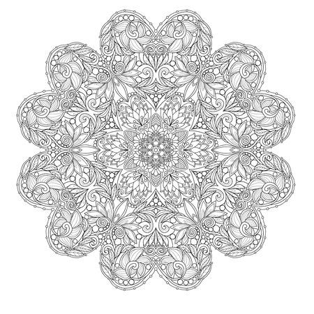 Dekorative Mandala Mit Liebesherzen. Malbuch Für Erwachsene Und ...