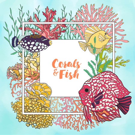 Coral reef with corals and fish. Card, banner with space for text. Colored Vector illustration. Stock Photo