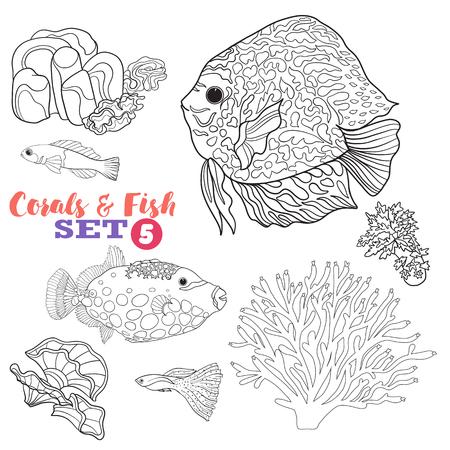 Arrecifes De Coral Y Peces Conjunto. Bueno Para Colorear Libro Para ...