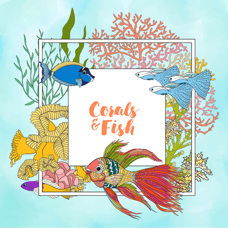 superscription: Coral reef with corals and fish. Card, banner with space for text. Colored Vector illustration. Stock Photo