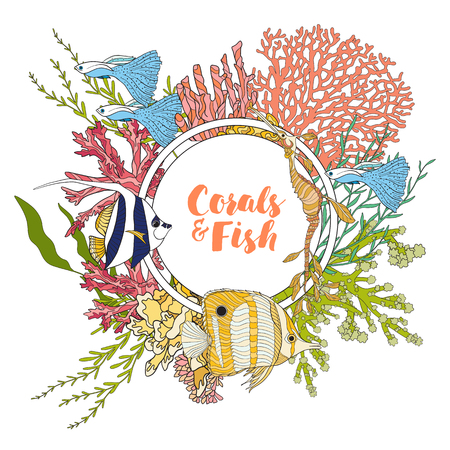 school of fish: Coral reef with corals and fish. Card, banner with space for text. Colored Vector illustration. Stock Photo
